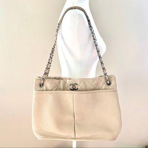 Chanel Beige Caviar Leather Shoulder Bag